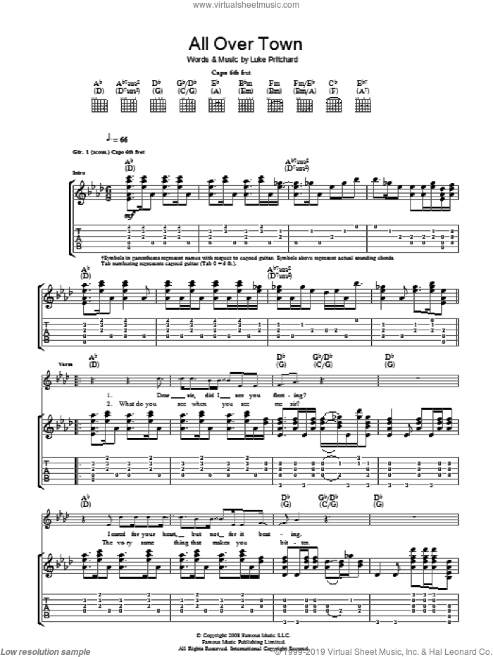 All Over Town sheet music for guitar (tablature) by The Kooks. Score Image Preview.
