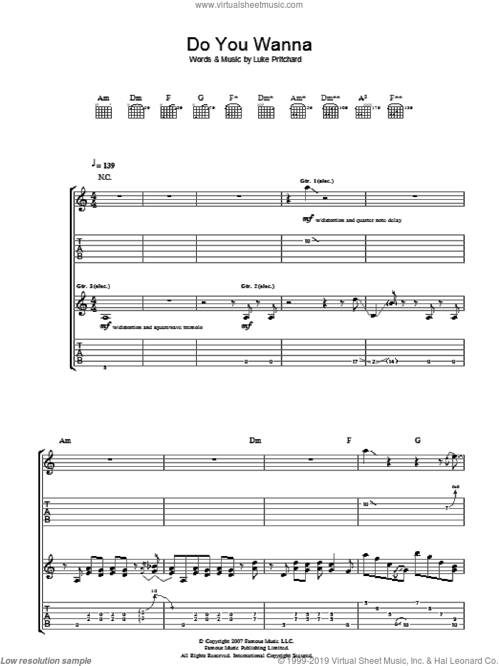 Do You Wanna sheet music for guitar (tablature) by Luke Pritchard and The Kooks. Score Image Preview.