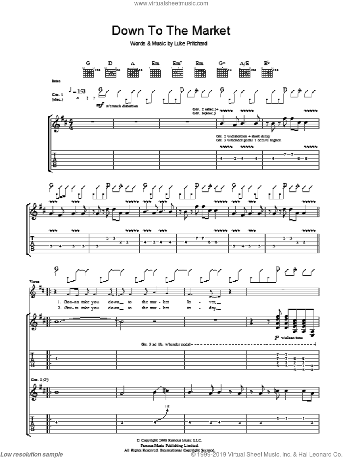 Down To The Market sheet music for guitar (tablature) by Luke Pritchard