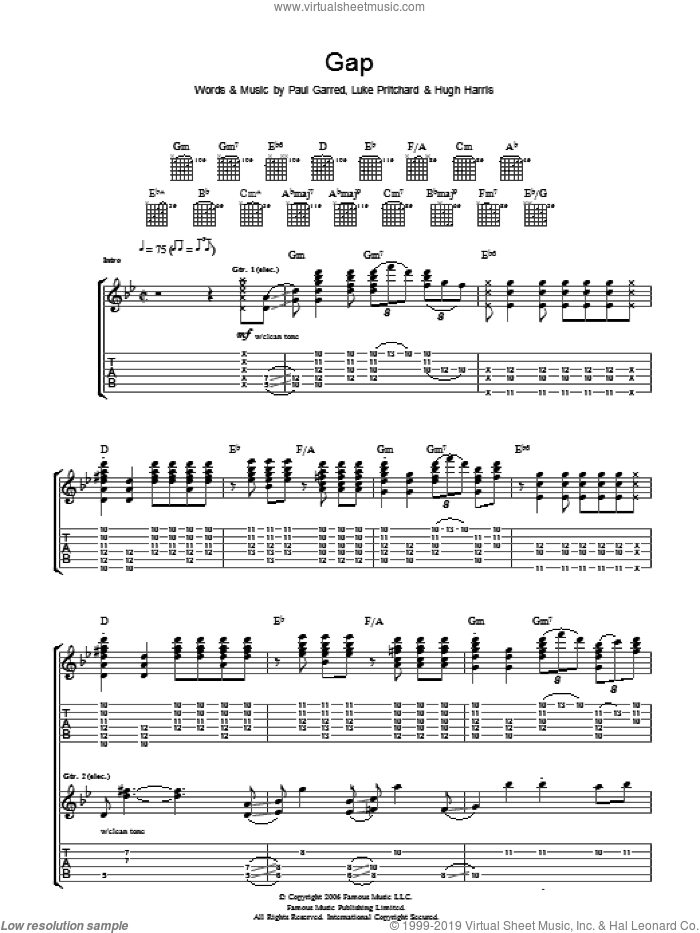 Gap sheet music for guitar (tablature) by Hugh Harris, The Kooks, Luke Pritchard and Paul Garred. Score Image Preview.