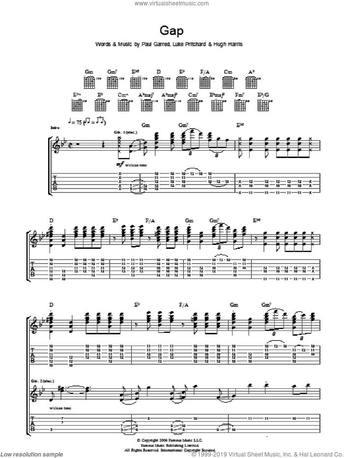 Gap sheet music for guitar (tablature) by The Kooks, Hugh Harris, Luke Pritchard and Paul Garred, intermediate skill level