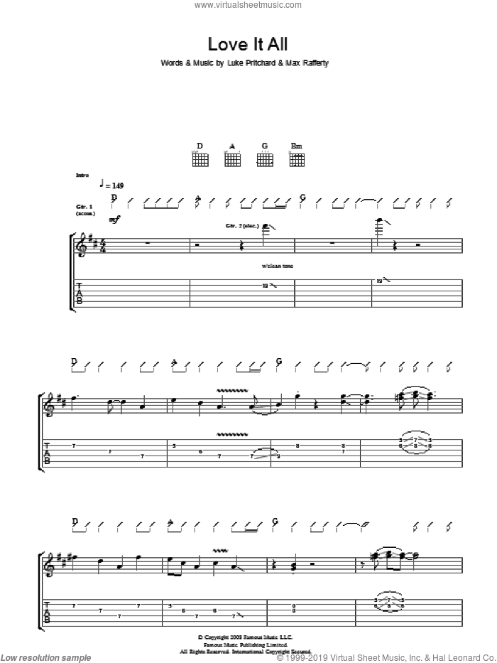 Love It All sheet music for guitar (tablature) by The Kooks. Score Image Preview.