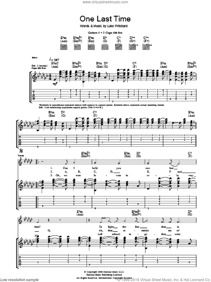 One Last Time sheet music for guitar (tablature) by Luke Pritchard and The Kooks. Score Image Preview.