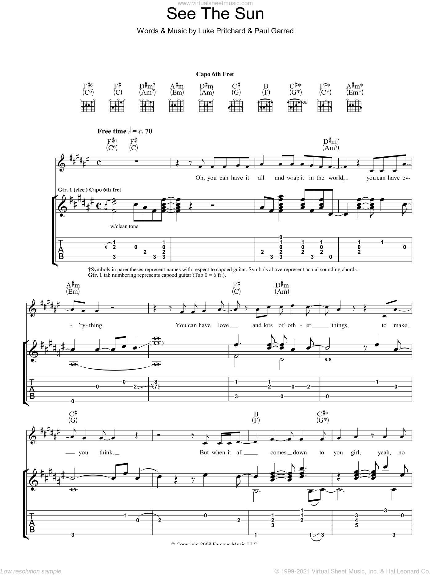 See The Sun sheet music for guitar (tablature) by The Kooks, intermediate. Score Image Preview.