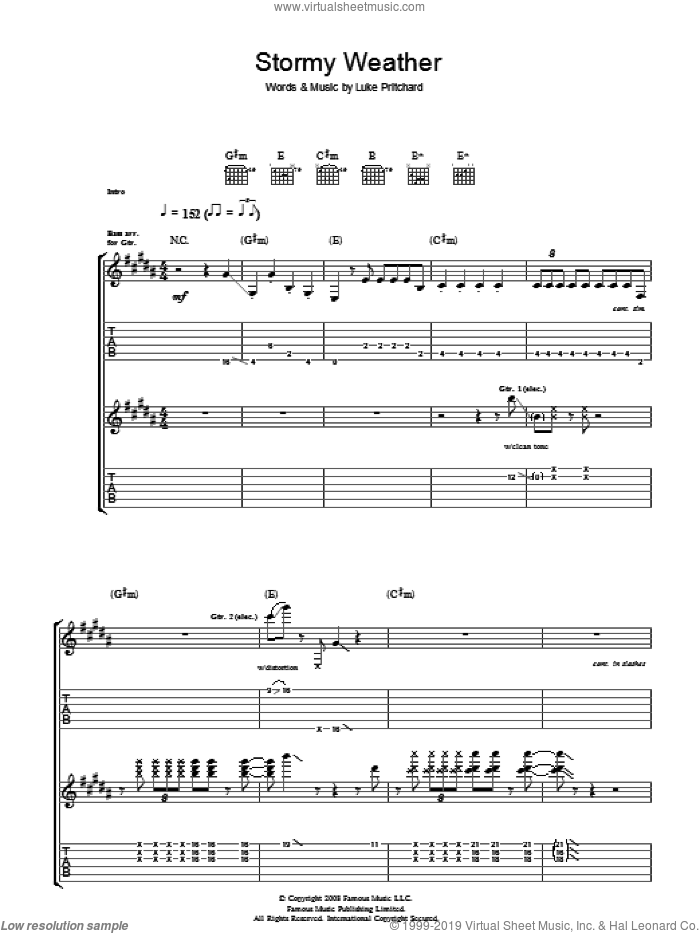 Stormy Weather sheet music for guitar (tablature) by The Kooks and Luke Pritchard, intermediate skill level
