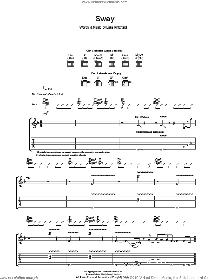 Sway sheet music for guitar (tablature) by Luke Pritchard and The Kooks. Score Image Preview.