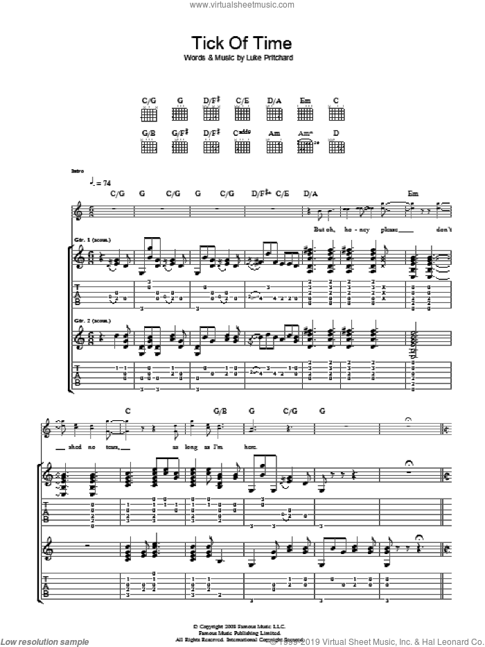 Tick Of Time sheet music for guitar (tablature) by Luke Pritchard and The Kooks. Score Image Preview.