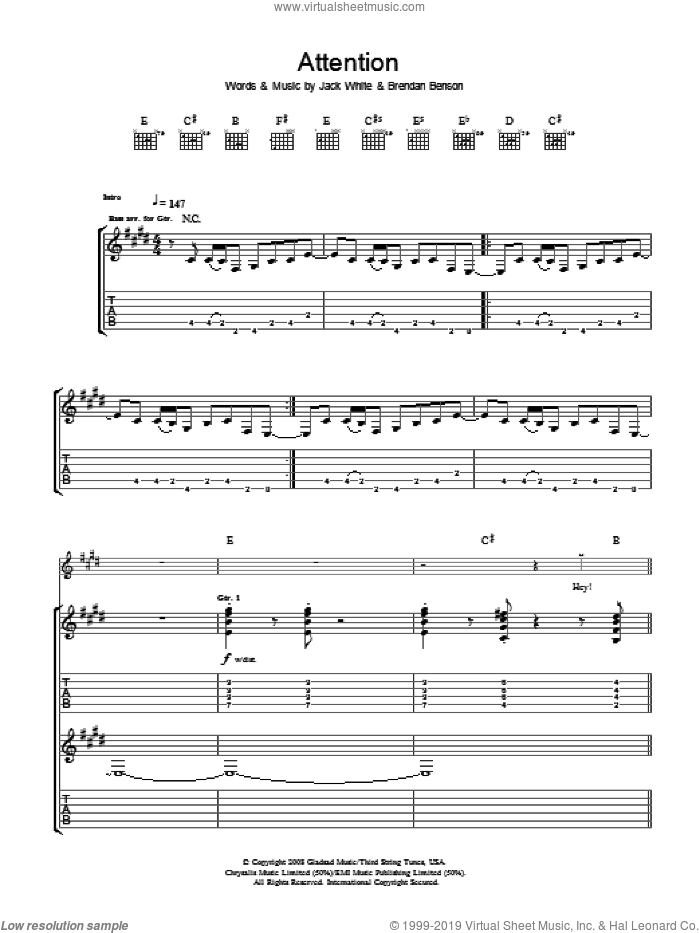 Attention sheet music for guitar (tablature) by Brendan Benson, The Raconteurs and Jack White. Score Image Preview.