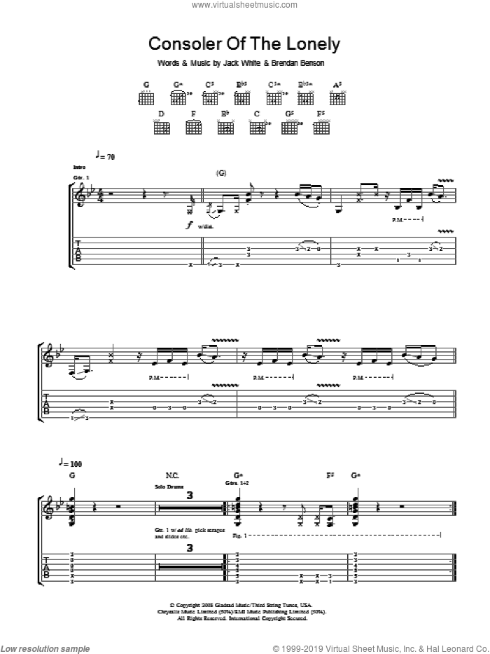 Consoler Of The Lonely sheet music for guitar (tablature) by The Raconteurs, Brendan Benson and Jack White, intermediate. Score Image Preview.