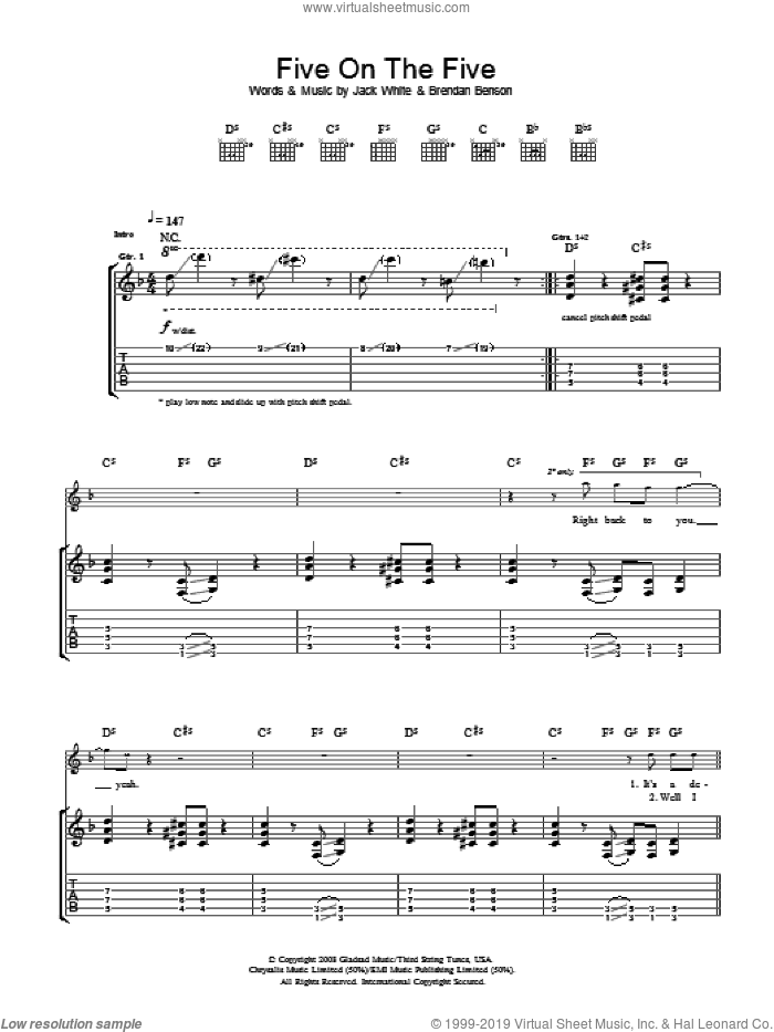 Five On The Five sheet music for guitar (tablature) by Brendan Benson, The Raconteurs and Jack White. Score Image Preview.