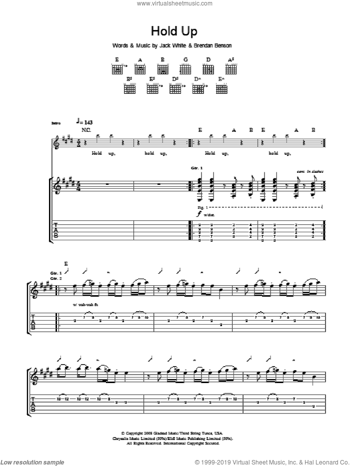 Hold Up sheet music for guitar (tablature) by The Raconteurs and Jack White. Score Image Preview.