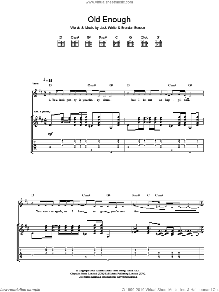 Old Enough sheet music for guitar (tablature) by The Raconteurs, Brendan Benson and Jack White, intermediate skill level