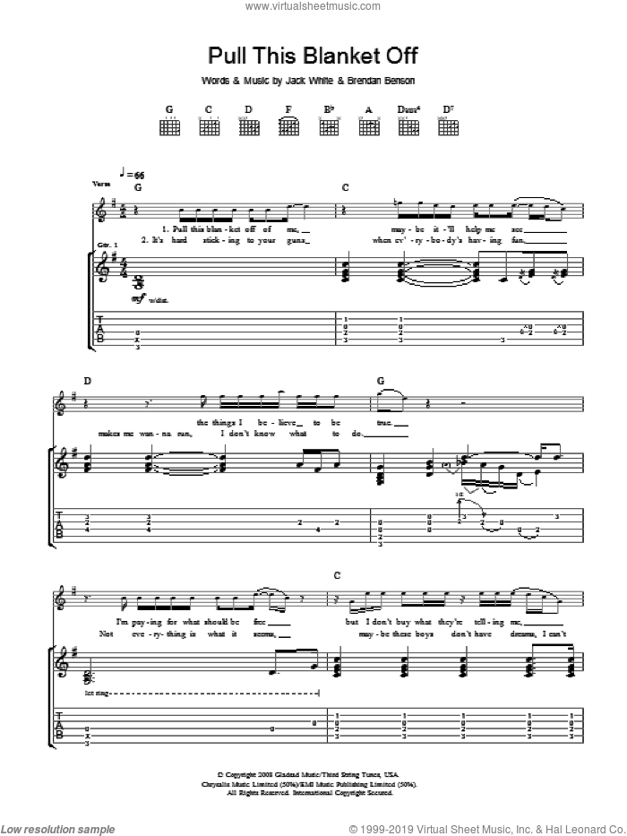 Pull This Blanket Off sheet music for guitar (tablature) by The Raconteurs and Jack White, intermediate