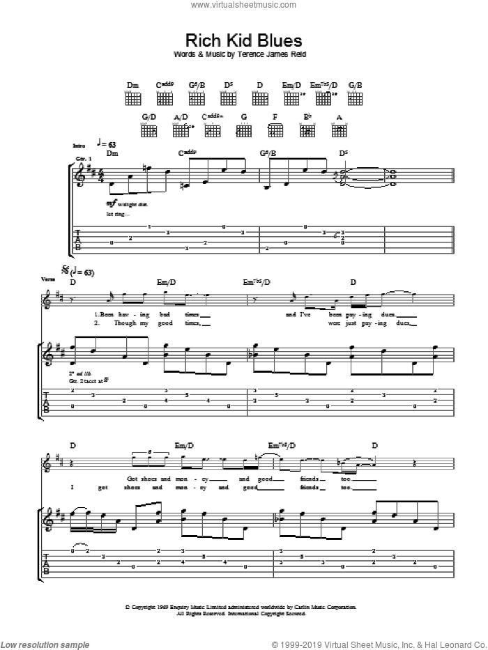 Rich Kid Blues sheet music for guitar (tablature) by The Raconteurs and Terence James Reid, intermediate. Score Image Preview.