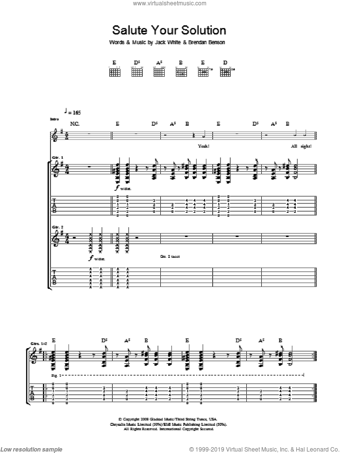 Salute Your Solution sheet music for guitar (tablature) by Brendan Benson, The Raconteurs and Jack White. Score Image Preview.