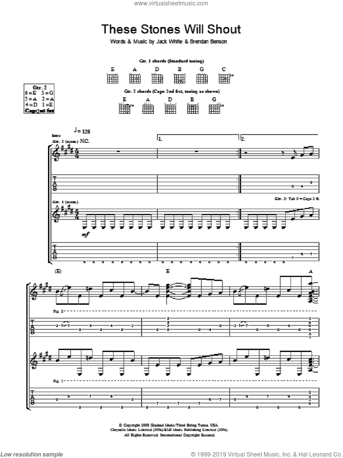 These Stones Will Shout sheet music for guitar (tablature) by Brendan Benson, The Raconteurs and Jack White. Score Image Preview.