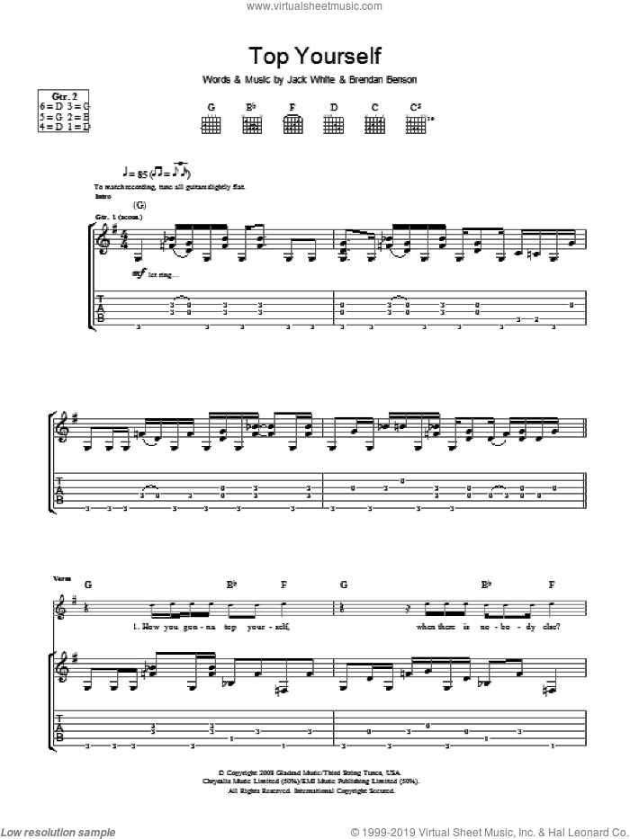 Top Yourself sheet music for guitar (tablature) by The Raconteurs, Brendan Benson and Jack White, intermediate skill level