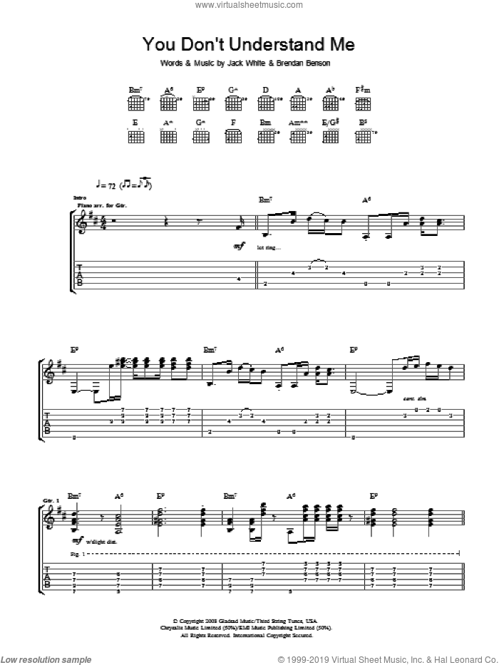 You Don't Understand Me sheet music for guitar (tablature) by Brendan Benson, The Raconteurs and Jack White. Score Image Preview.