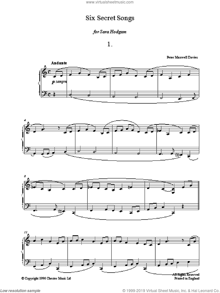 Six Secret Songs, No.1, Andante sheet music for piano solo by Peter Maxwell Davies