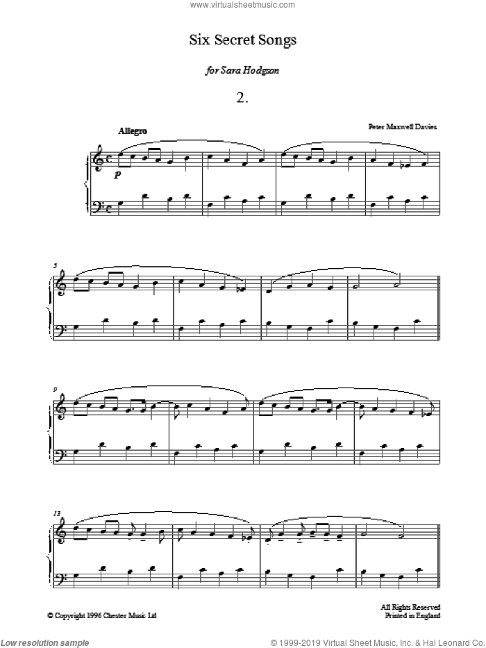 Six Secret Songs, No.2, Allegro sheet music for piano solo by Peter Maxwell Davies, classical score, intermediate