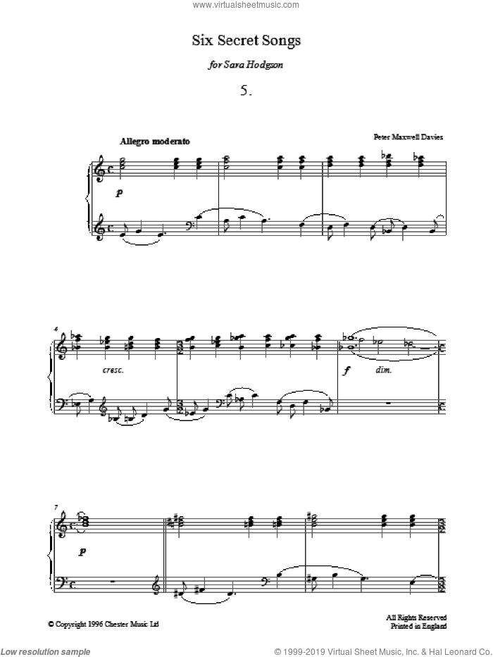 Six Secret Songs, No.5, Allegro Moderato sheet music for piano solo by Peter Maxwell Davies. Score Image Preview.