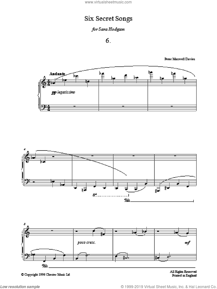 Six Secret Songs, No.6, Andante sheet music for piano solo by Peter Maxwell Davies