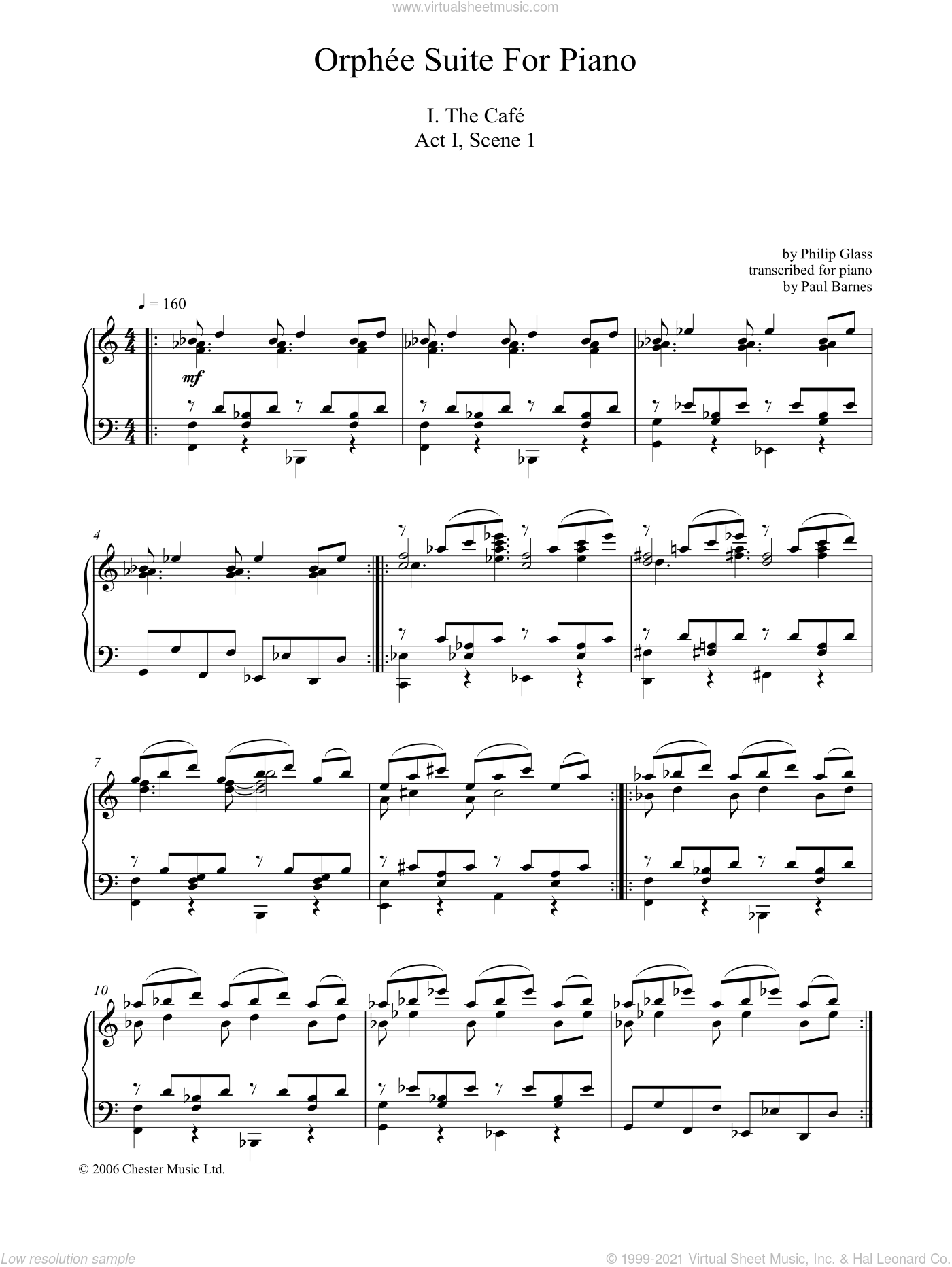 Orphee Suite For Piano, I. The Cafe, Act I, Scene 1 sheet music for piano solo by Philip Glass, classical score, intermediate skill level