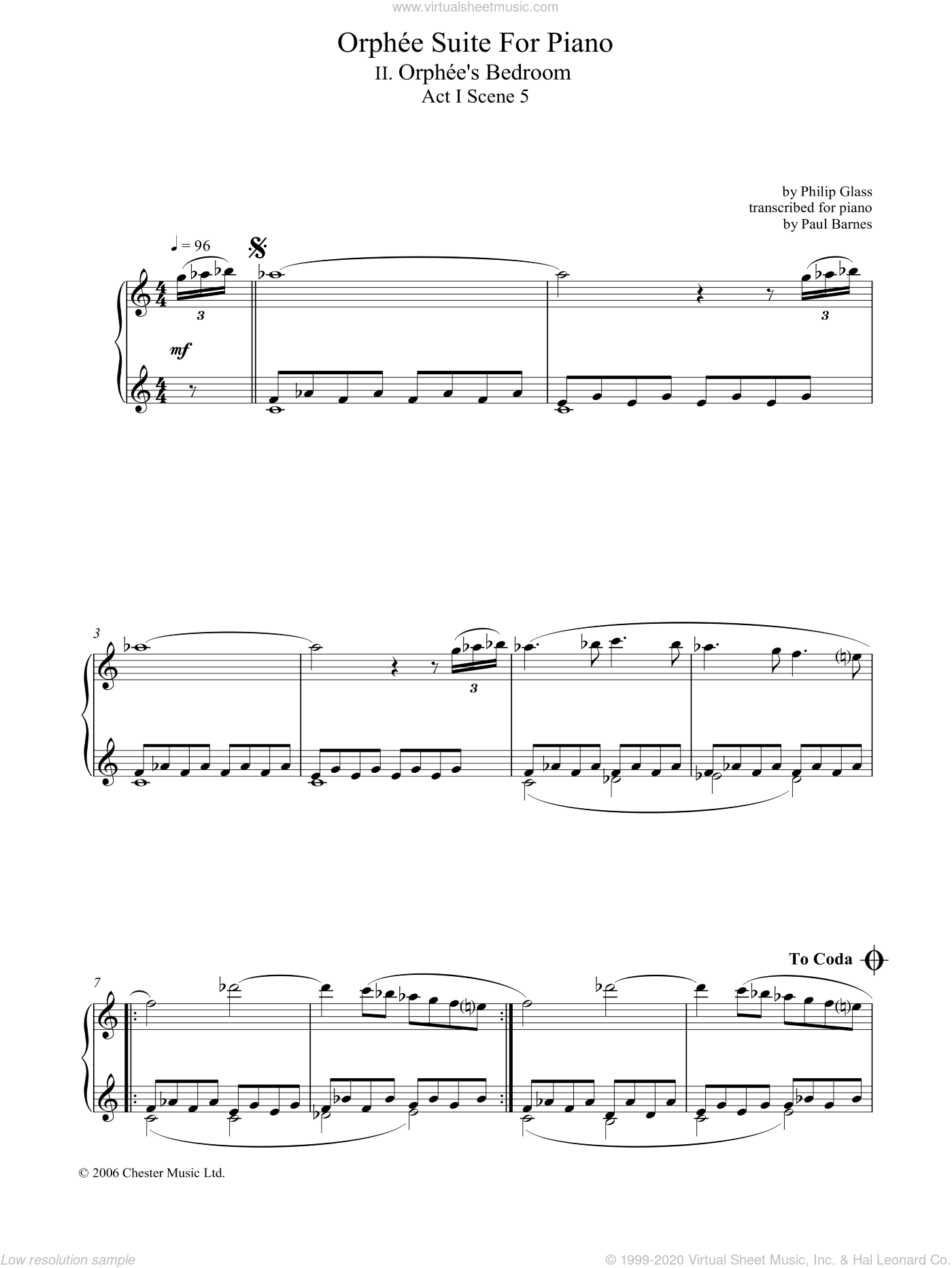 Orphee Suite For Piano, II. Orphee's Bedroom, Act I, Scene 5 sheet music for piano solo by Philip Glass, classical score, intermediate skill level