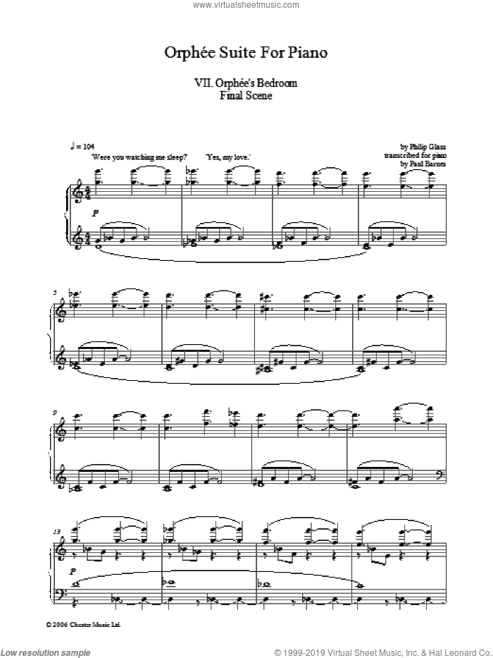 Orphee Suite For Piano, VII. Orphee's Bedroom Final Scene sheet music for piano solo by Philip Glass, classical score, intermediate skill level