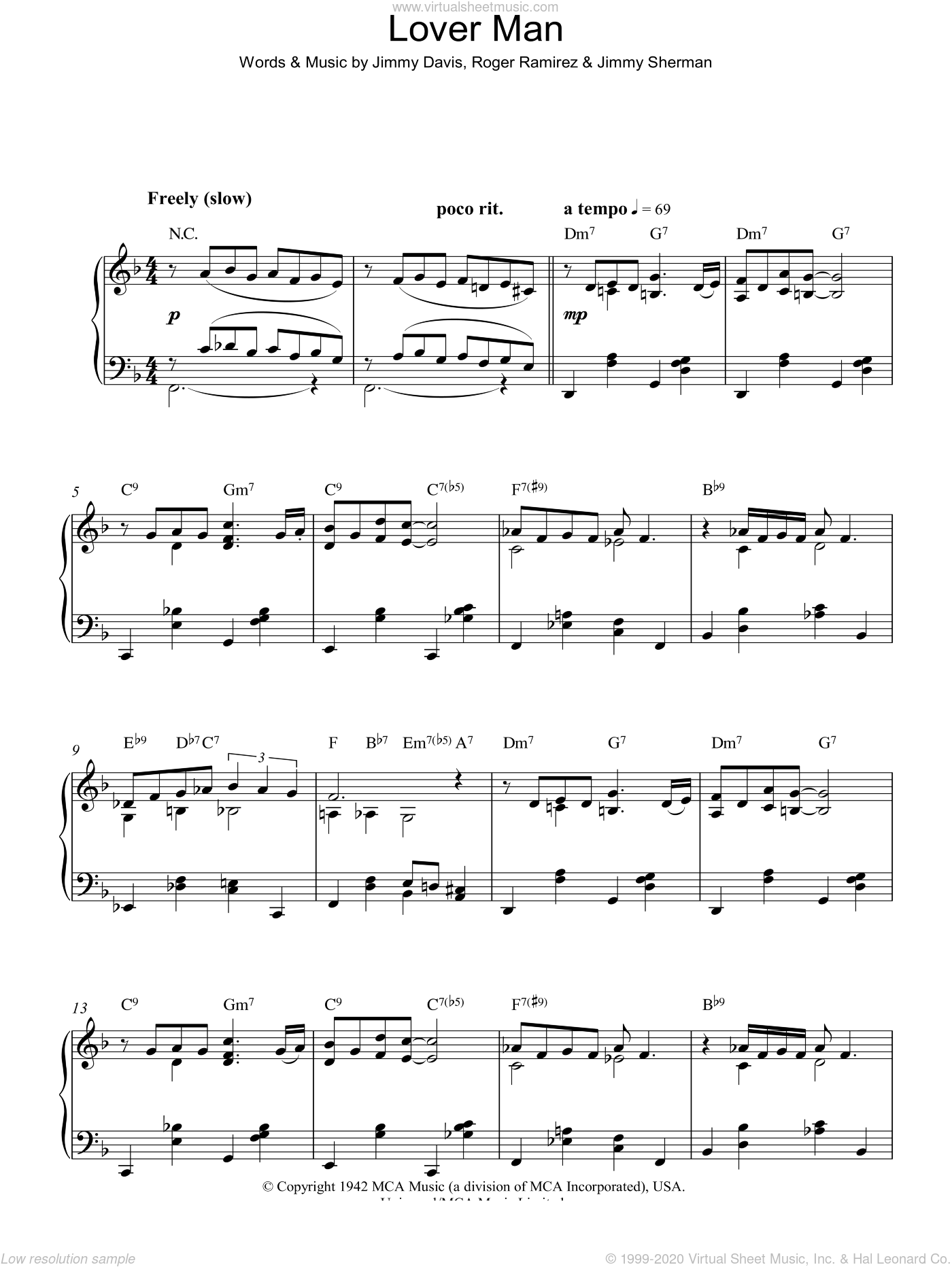 Lover Man (Oh, Where Can You Be) sheet music for piano solo by Jimmie Davis