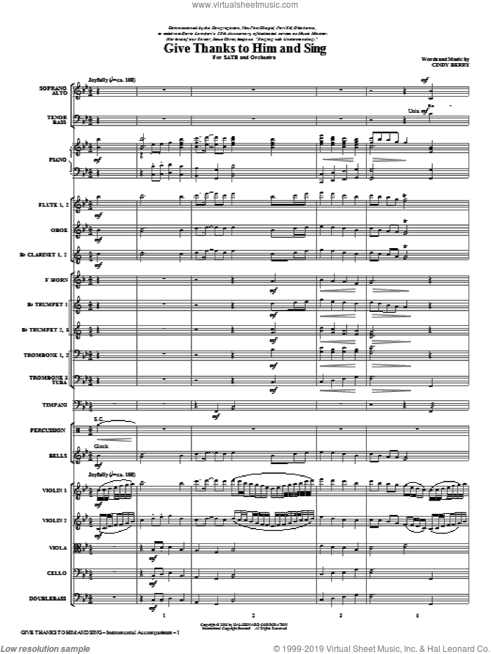 Give Thanks To Him And Sing (COMPLETE) sheet music for orchestra/band (Orchestra) by Cindy Berry, intermediate orchestra. Score Image Preview.