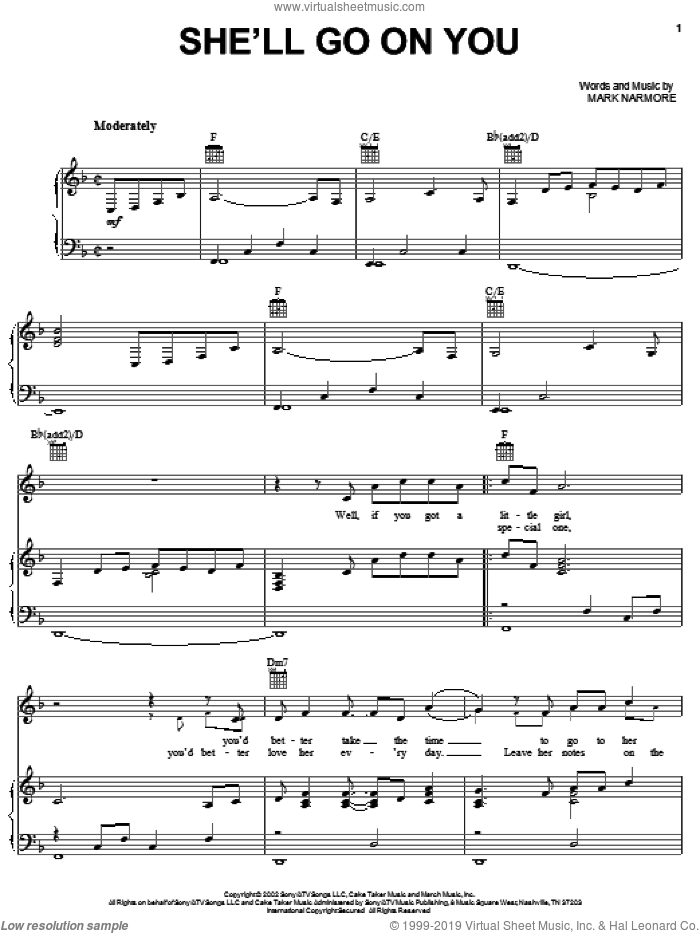 She'll Go On You sheet music for voice, piano or guitar by Mark Narmore and Josh Turner. Score Image Preview.