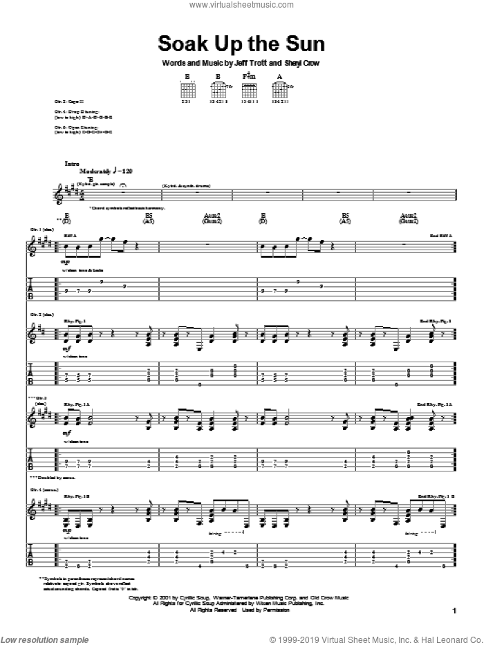Soak Up The Sun sheet music for guitar (tablature) by Sheryl Crow and Jeff Trott, intermediate
