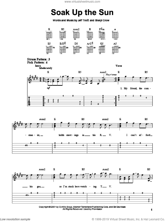 Soak Up The Sun sheet music for guitar solo (easy tablature) by Sheryl Crow and Jeff Trott, easy guitar (easy tablature)