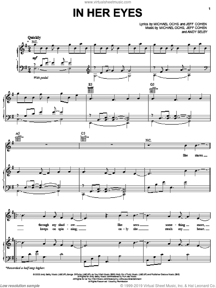 In Her Eyes sheet music for voice, piano or guitar by Josh Groban, Andy Selby, Jeff Cohen and Michael Ochs, intermediate skill level