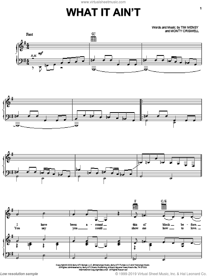 What It Ain't sheet music for voice, piano or guitar by Josh Turner, intermediate voice, piano or guitar. Score Image Preview.