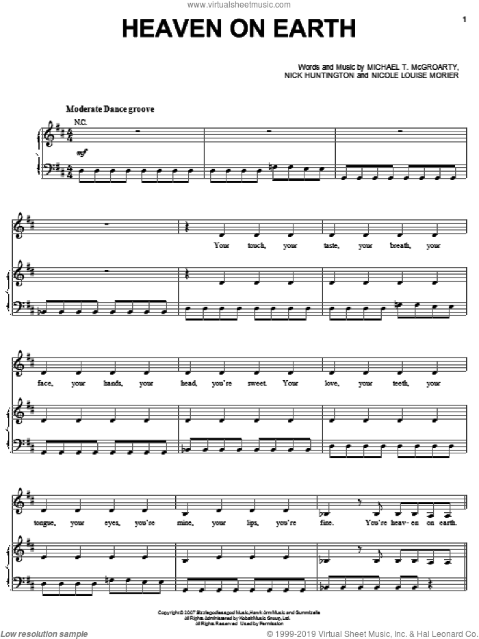 Heaven On Earth sheet music for voice, piano or guitar by Nicole Morier and Britney Spears. Score Image Preview.
