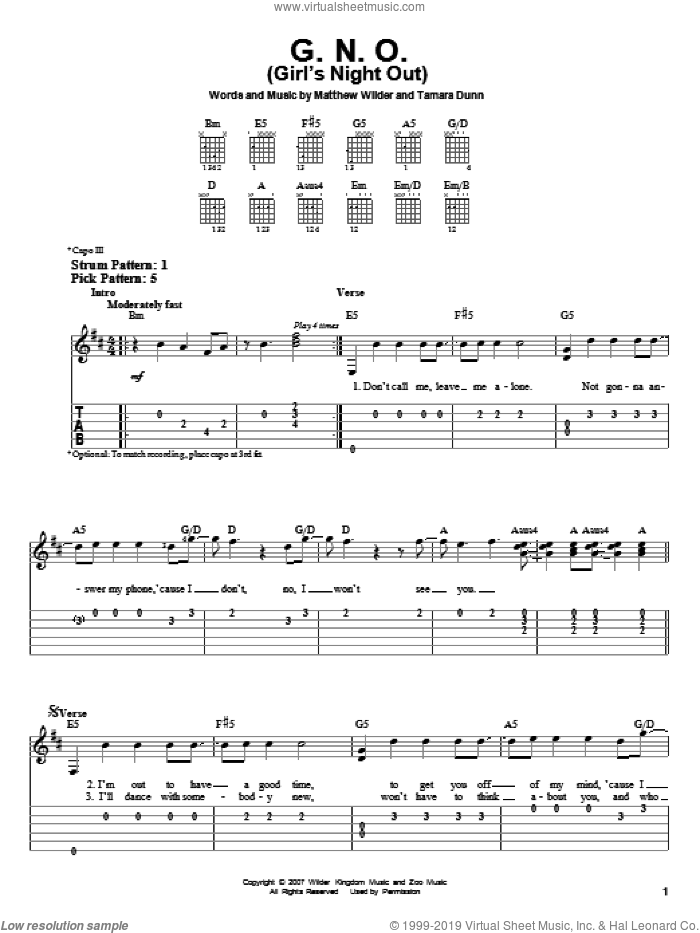 G.N.O. (Girl's Night Out) sheet music for guitar solo (easy tablature) by Hannah Montana, Miley Cyrus and Matthew Wilder. Score Image Preview.