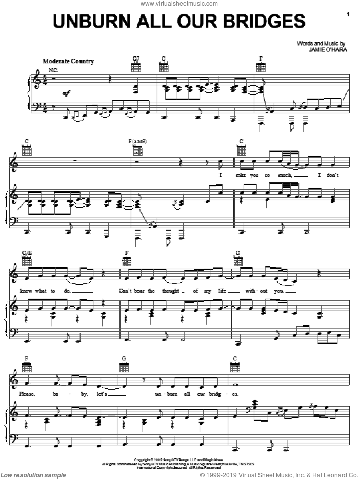 Unburn All Our Bridges sheet music for voice, piano or guitar by Josh Turner. Score Image Preview.