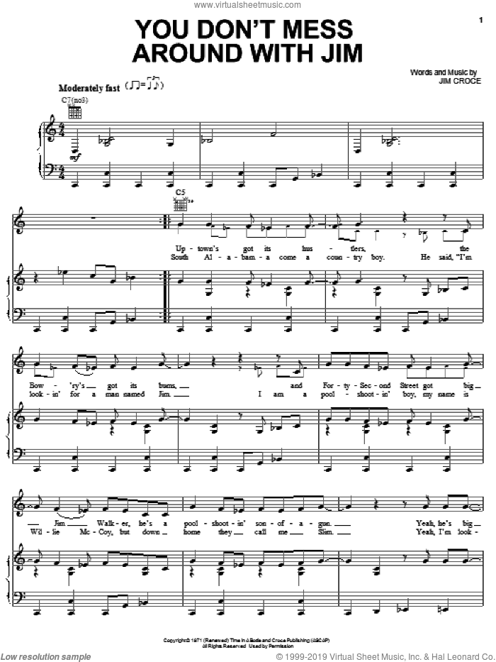 You Don't Mess Around With Jim sheet music for voice, piano or guitar by Josh Turner and Jim Croce, intermediate skill level