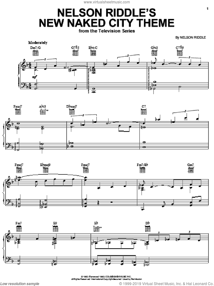 Nelson Riddle's New Naked City Theme sheet music for piano solo by Nelson Riddle, intermediate skill level