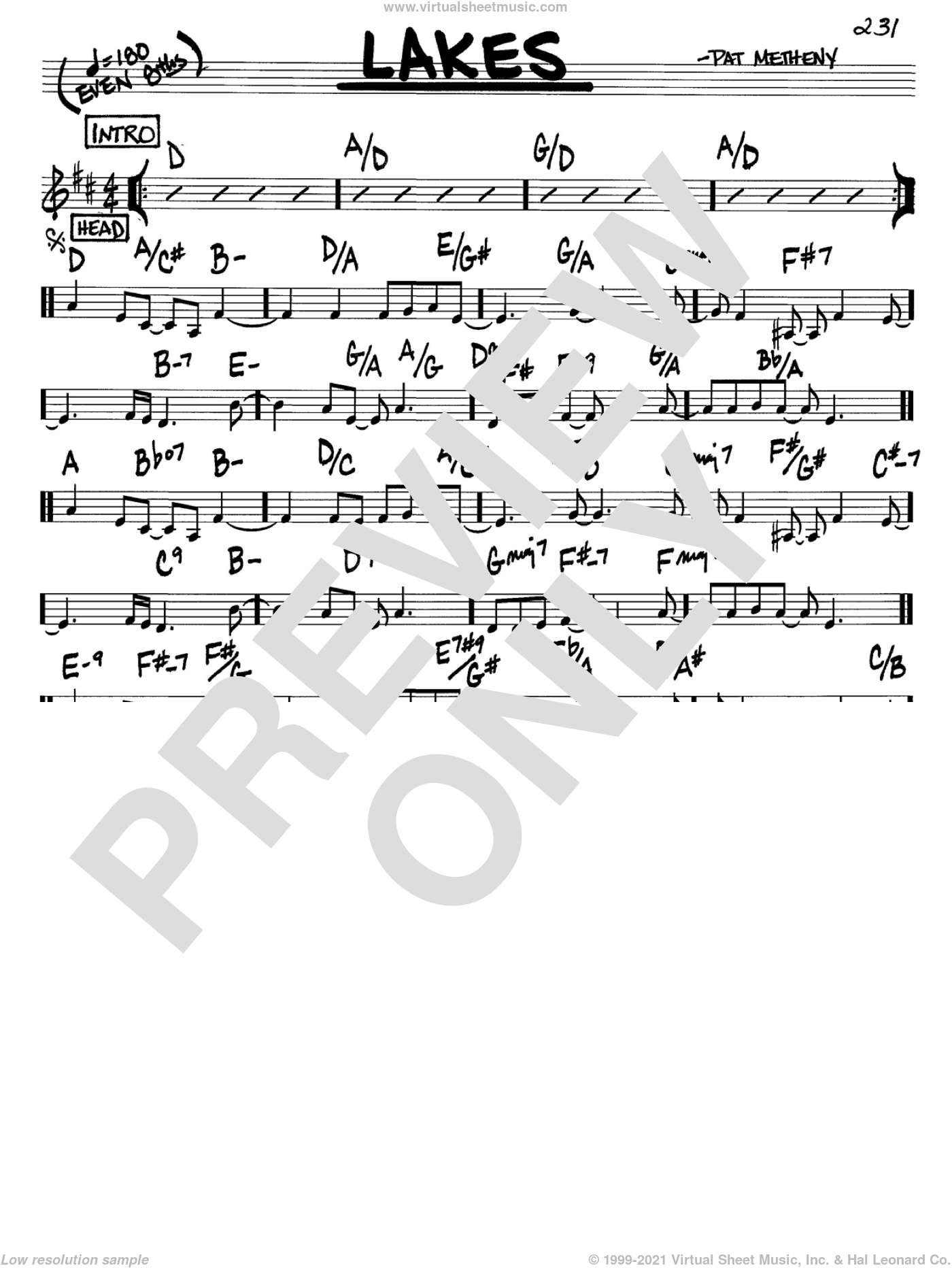Lakes sheet music for voice and other instruments (C) by Pat Metheny. Score Image Preview.
