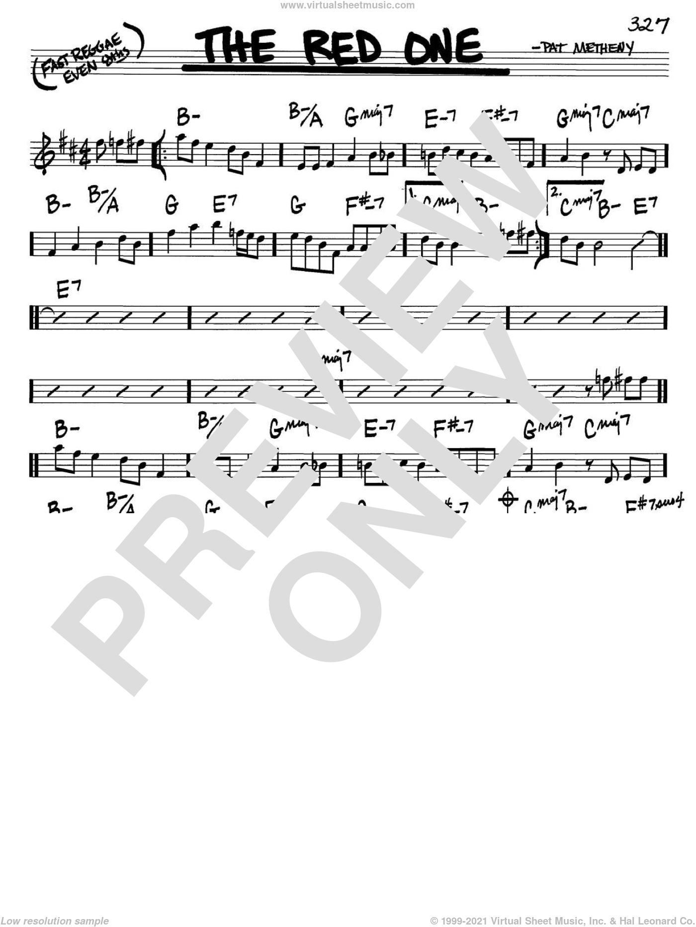 The Red One sheet music for voice and other instruments (C) by Pat Metheny