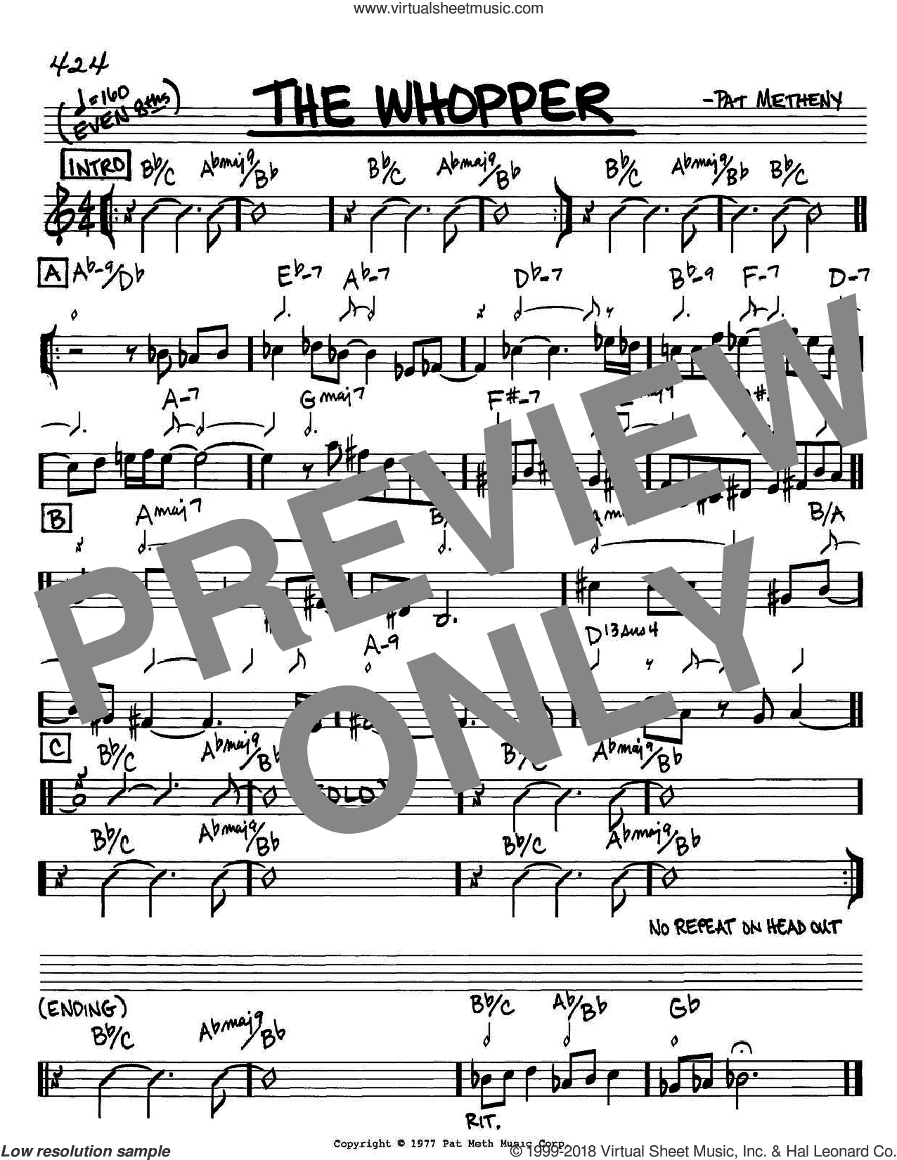 The Whopper sheet music for voice and other instruments (C) by Pat Metheny. Score Image Preview.