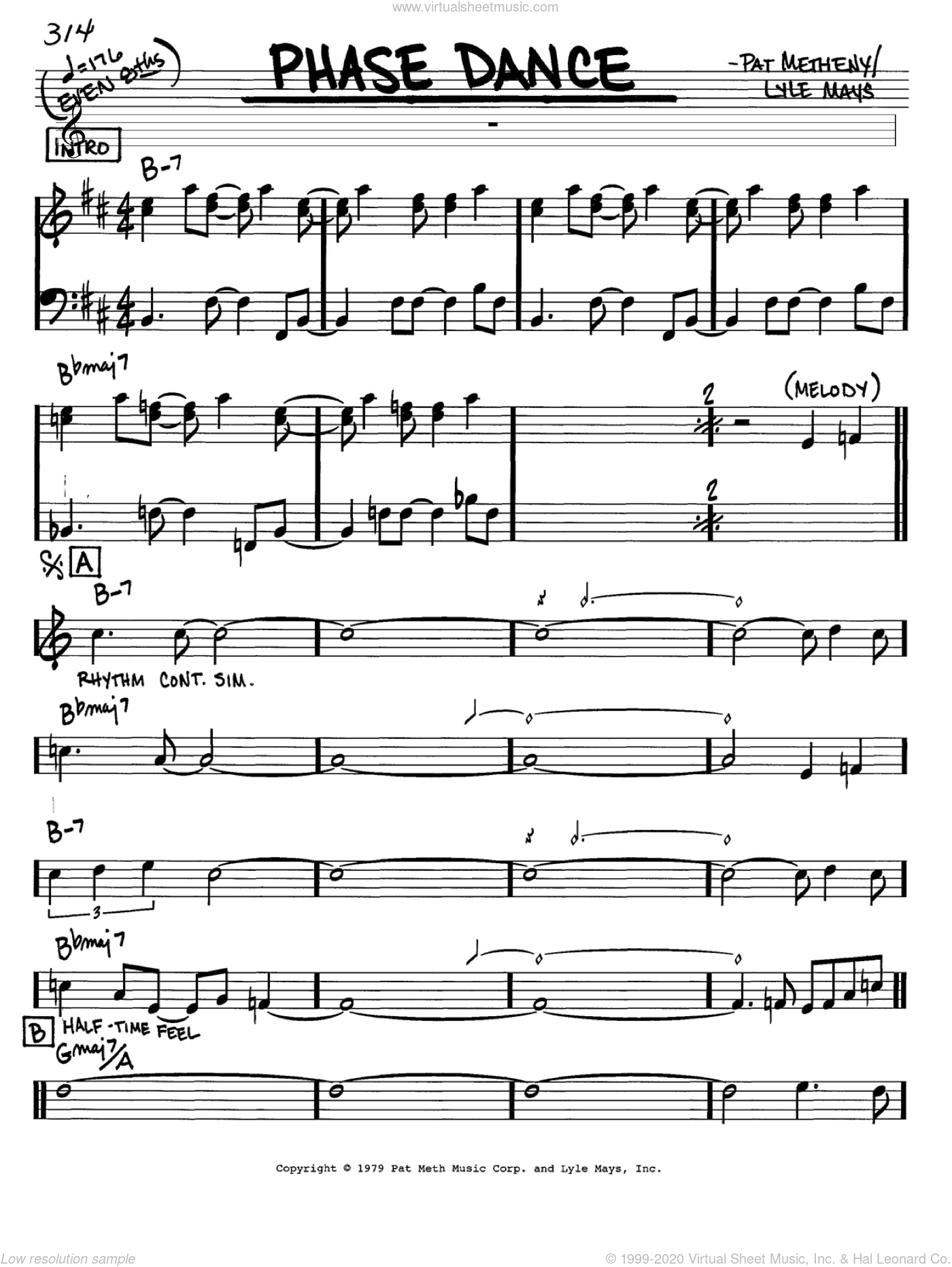 Phase Dance sheet music for voice and other instruments (C) by Pat Metheny and Lyle Mays, intermediate voice. Score Image Preview.