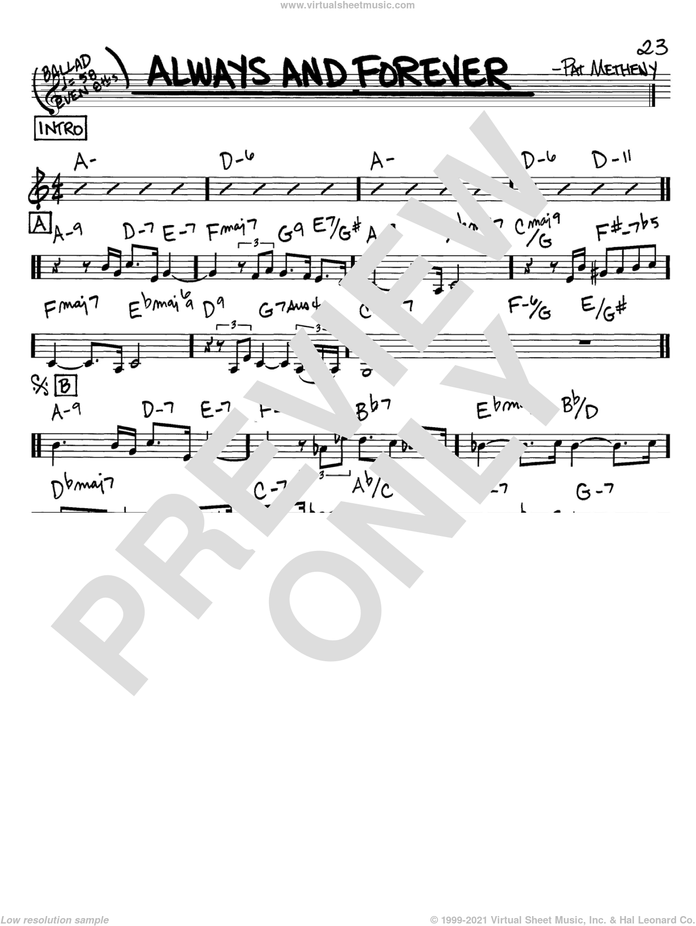 Always And Forever sheet music for voice and other instruments (C) by Pat Metheny. Score Image Preview.