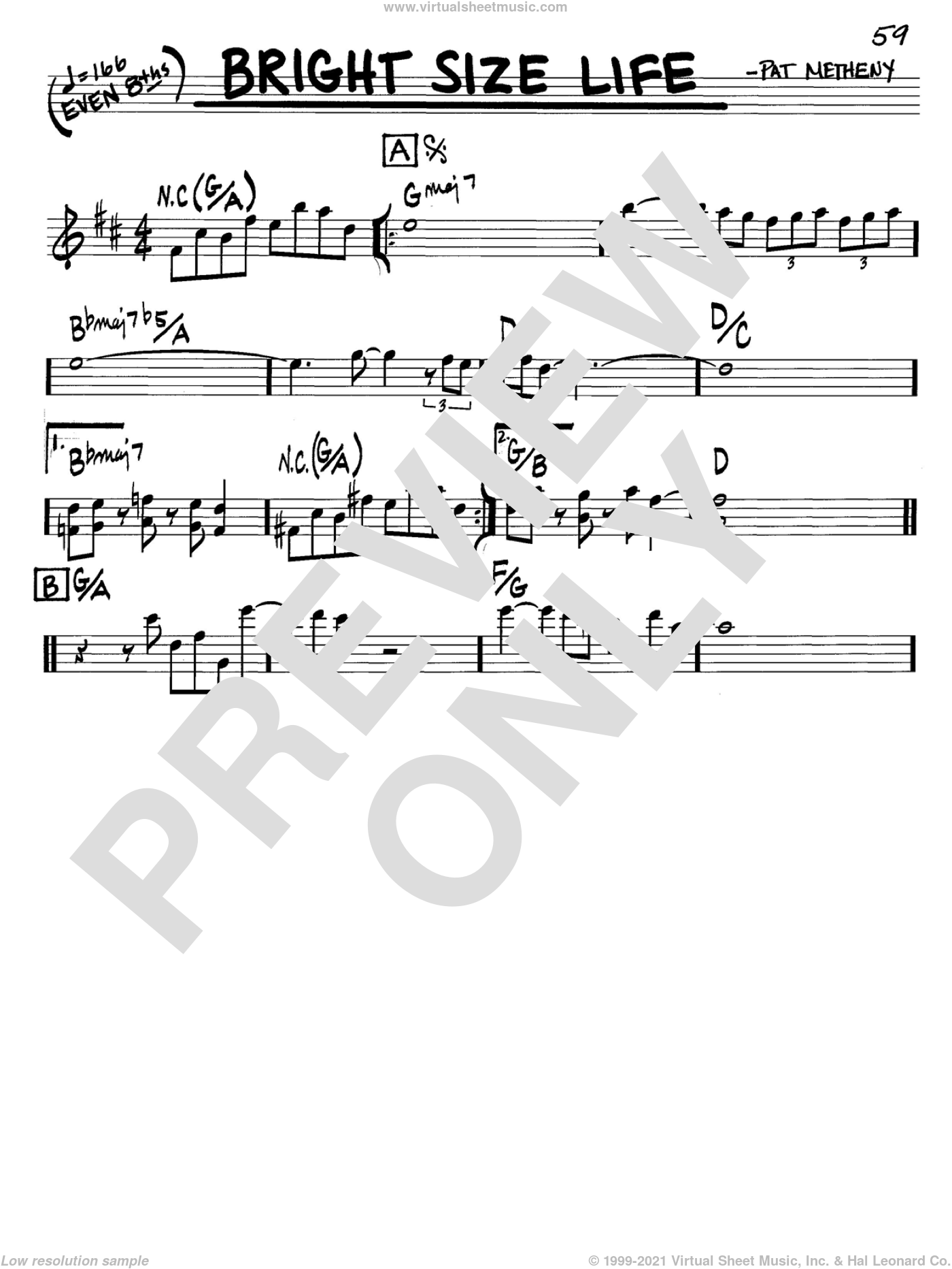 Bright Size Life sheet music for voice and other instruments (in C) by Pat Metheny, intermediate. Score Image Preview.