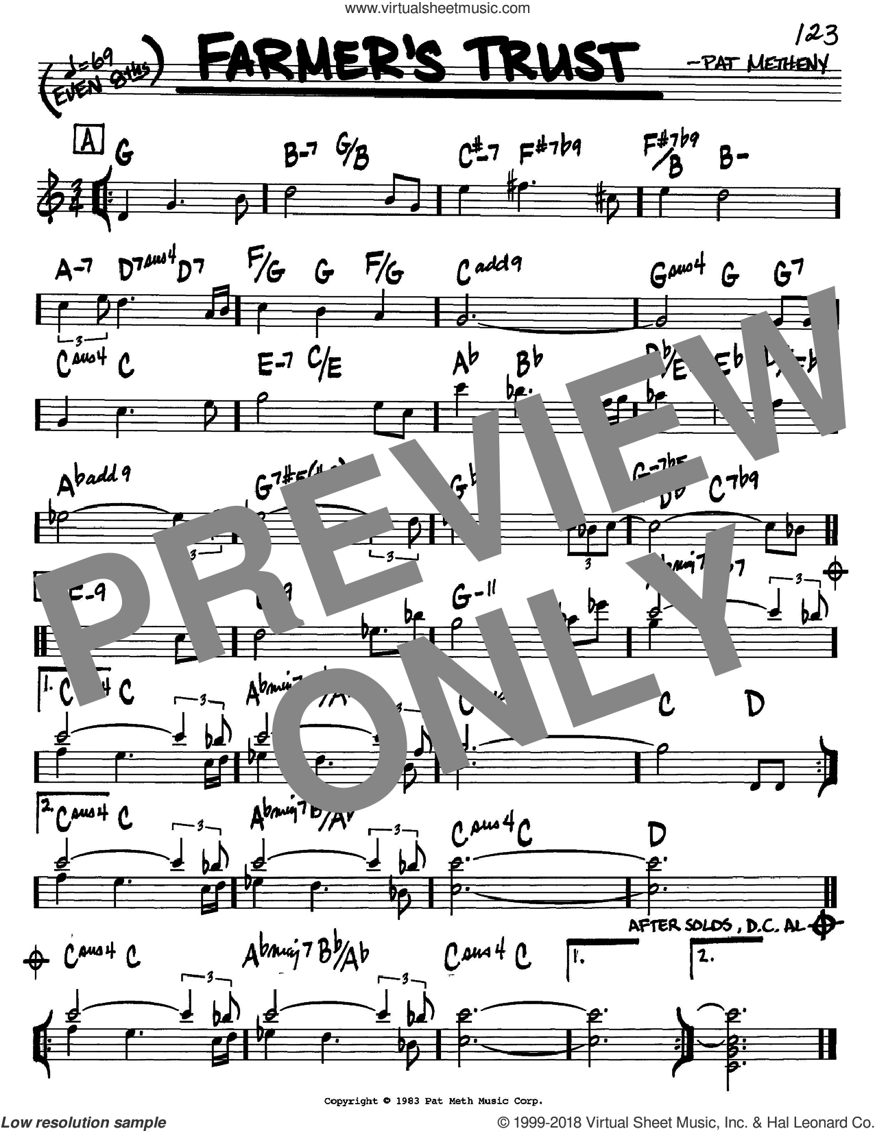 Farmer's Trust sheet music for voice and other instruments (C) by Pat Metheny. Score Image Preview.