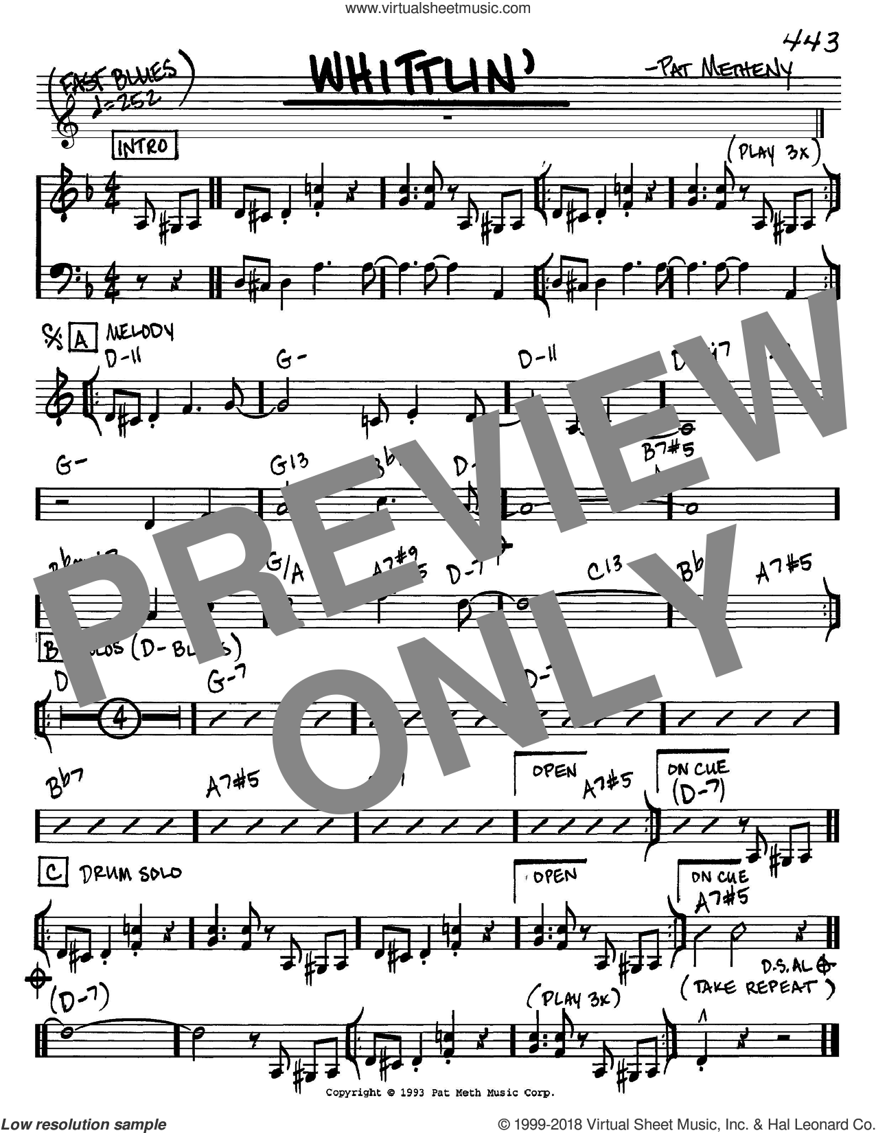 Whittlin' sheet music for voice and other instruments (C) by Pat Metheny. Score Image Preview.