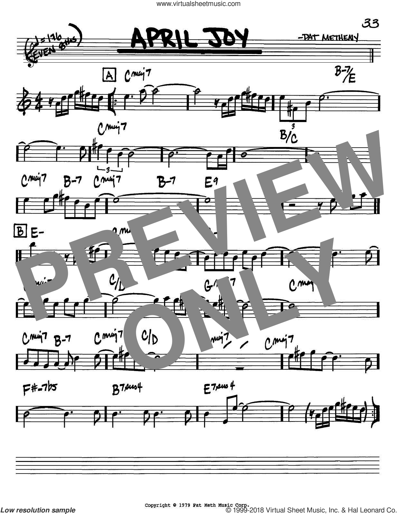 April Joy sheet music for voice and other instruments (Bb) by Pat Metheny. Score Image Preview.